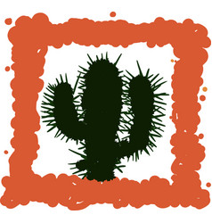 simple cactus drawing vector image
