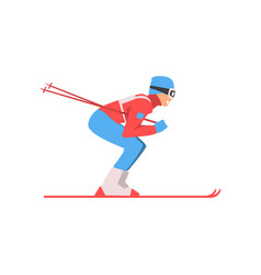 skiing sportsman male athlete character in sports vector image