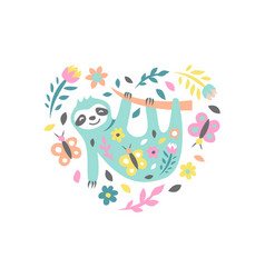 sloth with flowers and butterflies on white vector image