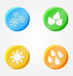 symbols of 4 seasons - winter spring summer autumn vector image