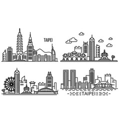 Taipei banner set outline style vector