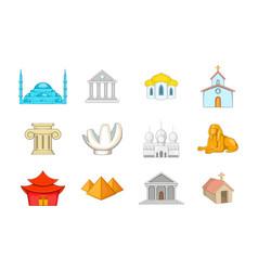 Temple icon set cartoon style vector