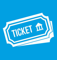 Ticket icon white vector