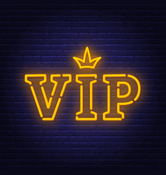 vip neon sign glowing lettering with crown vector image