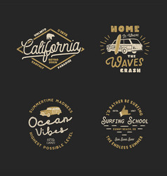 Vntage hand drawn surfing graphics and emblems for vector