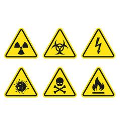 warning signs set - danger radiation biohazard vector image