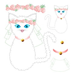 White Cat Bride Wedding vector image