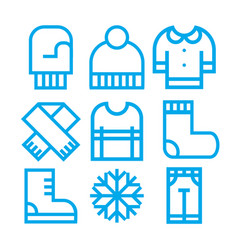 winter clothing icons vector image