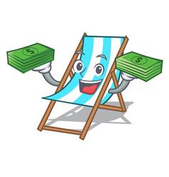 with money bag beach chair mascot cartoon vector image