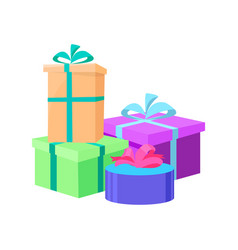 wrapped gift boxes in decor paper isolated vector image
