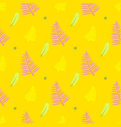 yellow seamless pattern with feathers fern leaves vector image