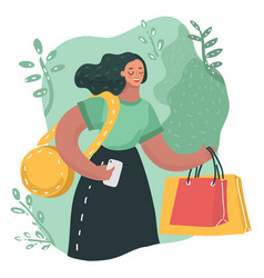 young woman with smartphone and shopping bags vector image