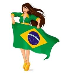 Beautiful woman fan holding Brazilian flag vector image
