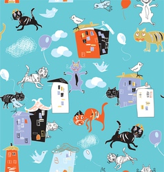 cats and houses vector image