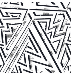 monochrome grunge geometric seamless pattern vector image