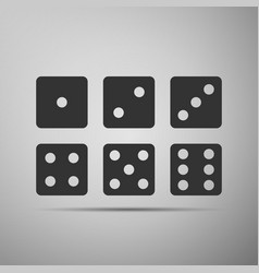 set of six dices flat icon on grey background vector image