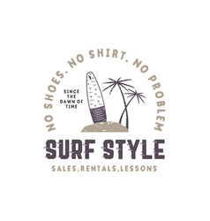 surf style vintage label summer surfing style vector image vector image