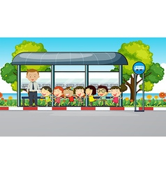 Teacher and children waiting for bus vector image