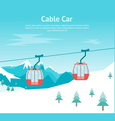 Cartoon car cabins cableway in mountains card vector