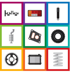 flat icon auto set of gasket wheel heater and vector image