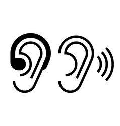 hearing aid and ear icon vector image vector image
