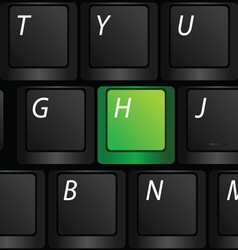 keyboard with green h sign vector image