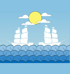 paper waves ships on the waves sailing medieval vector image