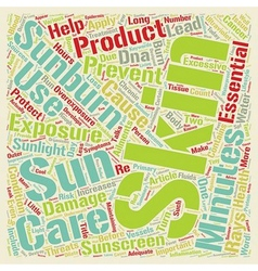 Sunburn an important skin issue text background vector