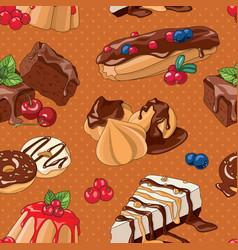 Sweet desserts seamless pattern vector