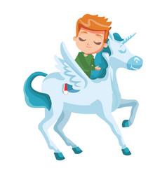 cute boy on unicorn vector image