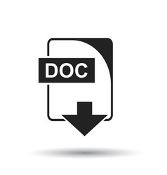 Doc icon flat doc download sign symbol with vector