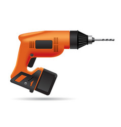 electric orange cordless drill isolated on white vector image
