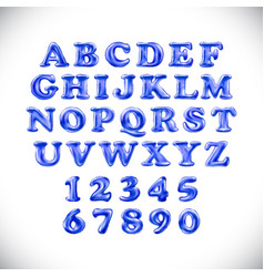 english alphabet and numerals from blue balloons vector image