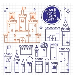 Make your own castle Hand drawn doodle tower vector image vector image