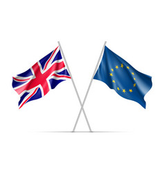 the united kingdom and european union waving flags vector image vector image