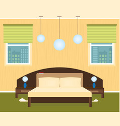 bedroom interior with a furniture and cityscape vector image