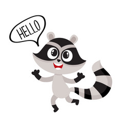 cute raccoon character showing greeting gesture vector image vector image