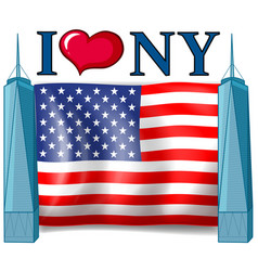 I love new york sign with american flag vector