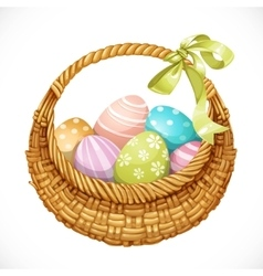 Realistic round wicker basket with Easter eggs vector image vector image