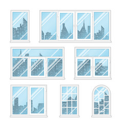 windows with city vector image vector image
