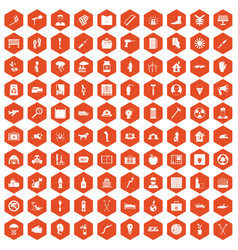 100 help icons hexagon orange vector