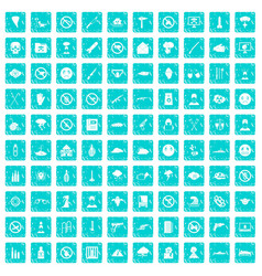 100 tension icons set grunge blue vector