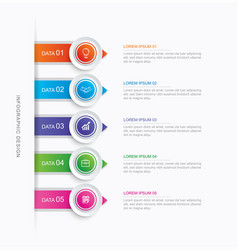 5 circle step infographic with abstract timeline vector