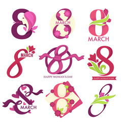 8 march womens day isolated icons with flowers and vector image