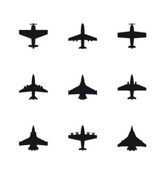 airplane symbols set aircraft plane jet black vector image