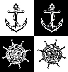 Anchor wheel art vector