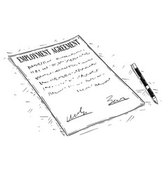 Artistic drawing of pen and employment agreement vector