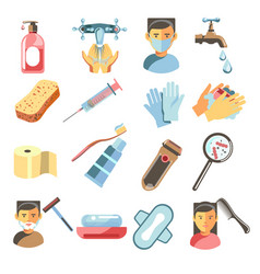 Bathroom or personal hygiene tools and means vector