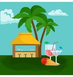 beach bar summer tropical under palm tree vector image