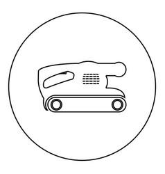 Belt sanding machine for grain finishing held vector